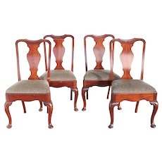 Set of Four English Queen Anne Style Mahogany Upholstered Seat Dining Side Chairs