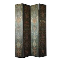 Large 19th Century Venetian Neoclassical Oil on Canvas Four-Panel Screen