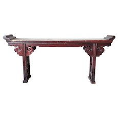 Large Chinese Red Lacquered Elm Altar Console Table