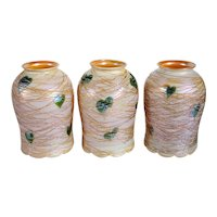 Set of Three American Quezal Gold Threaded Heart and Vine Glass Lamp Shades