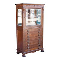 American Victorian Quarter Sawn Oak Glazed Door Silver Cabinet