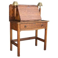 Small American Stickley Brothers Oak Drop Front Desk with Sconce Lights