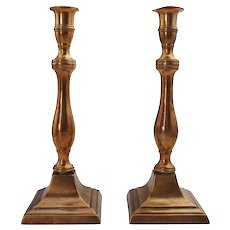 Pair of English George III Bell Metal Candlesticks