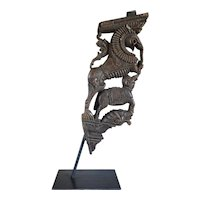 Indian Teak Architectural Bracket on Iron Stand