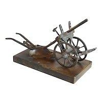 French Bronze Miniature Farming Horse Drawn Hand Plow Model