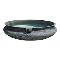 South Indian Solid Patinated Bronze Cooking Vessel (Urli)