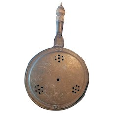 Early English/American Engraved Brass Bed Warming Pan