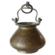Indian Mughal Cast Brass Hanging Water Bowl (Lota)