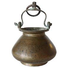 Indian Mughal Cast Brass Hanging Water Bowl (Lota)
