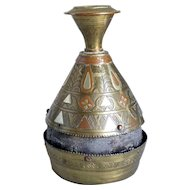 Indian Mughal Three-Metal Leather Lined Jar