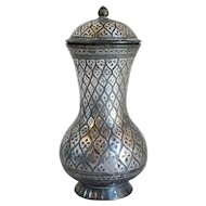 Indian Mughal Silver Inlaid Bidri Baluster Lidded Jar