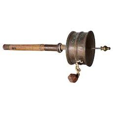 Tibetan Buddhist Brass and Wood Prayer Wheel (Mani)