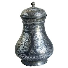 Indian Mughal Silver Inlaid Bidri Ware Lidded Jar