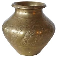 Indian Mughal Brass Water Pot (Lota)