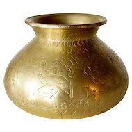 Small Indian Mughal Chased Brass Water Pot (Lota)
