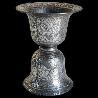 Indian Mughal Silver Inlaid Bidri Spittoon (Peekdaan/Thookadaan)