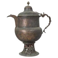 Large Indian Mughal Copper Coffee Pot