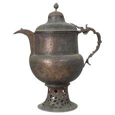 Large Northern Indian Kashmir Mughal Hand Chased Copper Tea Urn (Samovar)