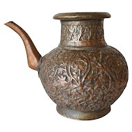 Indian Mughal Chased Copper Ewer