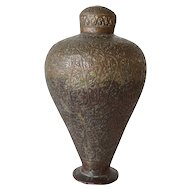 Northern Indian Chased Copper Tea Caddy or Vase