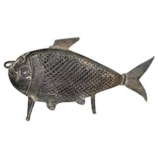 South Indian Bronze Fish-Form Cricket Cage
