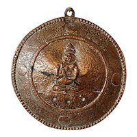 Tibetan Chased Copper Round Buddha Plaque