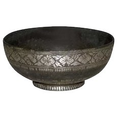 Indian Mughal Bidri Ware Silver Inlaid Bowl