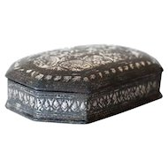Indian Mughal Silver Inlaid Bidri Pandan Box
