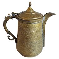 Indian Mughal Chased Cast Brass Water Pitcher