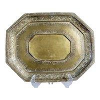 Indian Heavy Brass Octagonal Tray