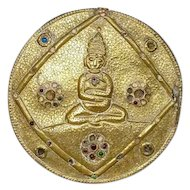Tibetan Chased Metal over Wood Buddha Plaque