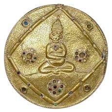Tibetan Chased Metal over Wood Buddha Plaque