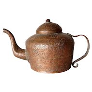 Indian Mughal Incised Copper Teapot