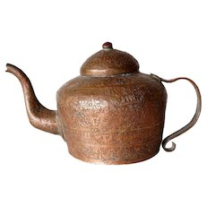 Indian Mughal Chased Copper Teapot