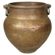 Large South Indian Hammered Brass Water Storage Pot