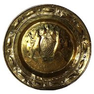 Early Northern European Brass Alms Plate, The Spies from Canaan