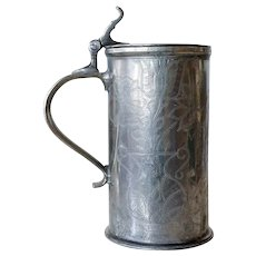 Danish Thomas Schjerning 18th century Engraved Pewter Tankard