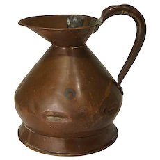 English Victorian Copper Quart Harvest Jug/Ale Measure