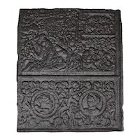 Large Early Swedish Cast Iron Stove Plate with Coat of Arms