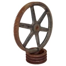 American Industrial Iron Gear Wheel Sculpture on Base