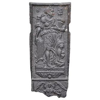 Swedish Baroque Cast Iron Stove Plate