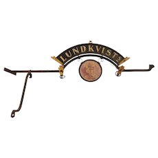 Danish Painted Wrought Iron and Steel Lundkvists Store Bracket Sign