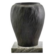Swedish Jugendstil GUSTAV IVAR CEDERWALL Bronze and Marble Base Vase
