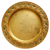 American Tiffany Furnaces Bronze Dore and Enamel Dish