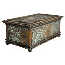 American Tiffany Studios Bronze and Slag Glass Pine Needle Jewelry Box