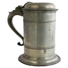 Danish Pewter Lidded Tankard