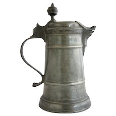 Danish Pewter Ale Pitcher with Lid