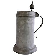 German Engraved Pewter Lidded Tavern Tankard
