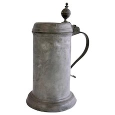 German Engraved Pewter Lidded Tankard
