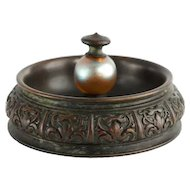 American Tiffany Studios Cigar Ashtray with Favrile Glass Ball Handle.